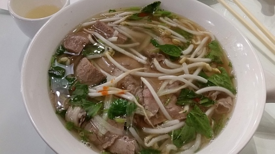 pho rare beef brisket and beef balls in noodle soup at Basil Garden.