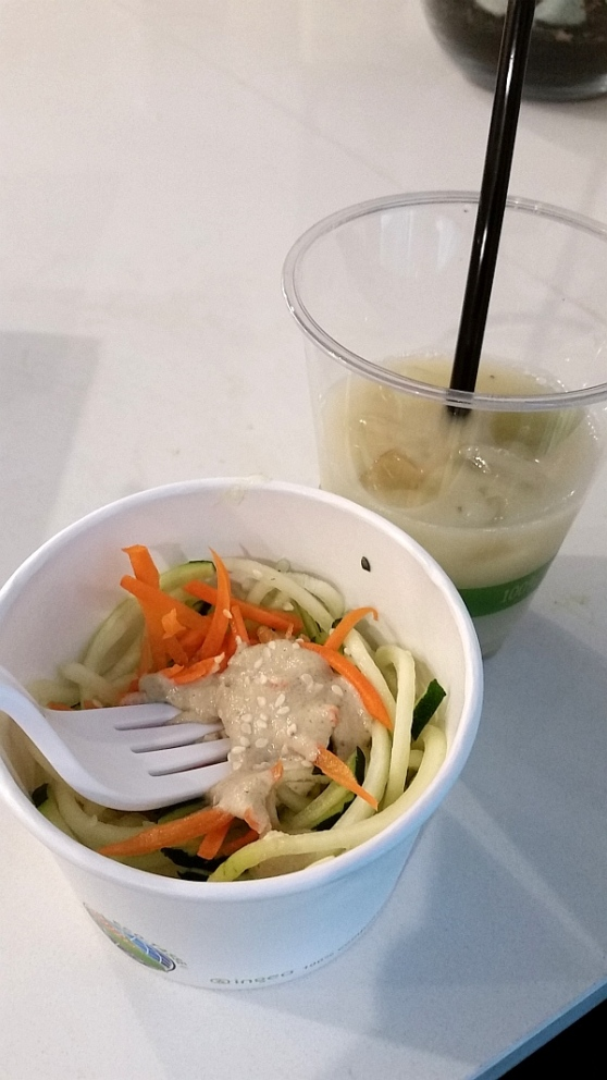 Zucchini noodles paired with bubble tea made with chia pearls at Commodity Juicery