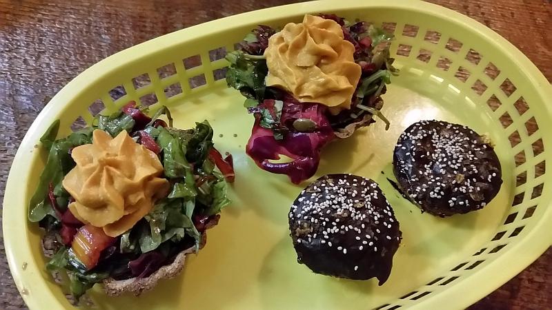 Saj & Co. Breadbowl with hummus salad and chocolate cake