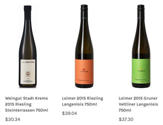 3 Austrian wines at Marquis Wine Cellars