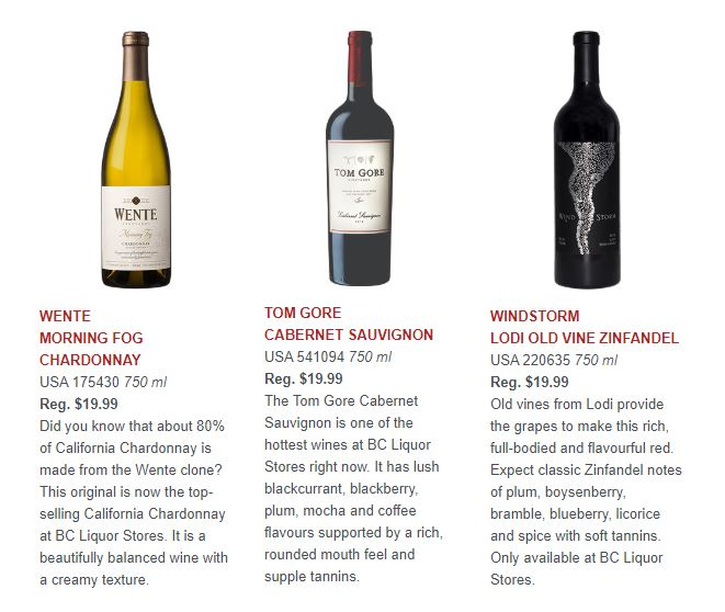 Wente Morning Fog Chardonnay, Tom Gore Cabernet Sauvignon, and Windstorm Lodi Old VIne Zinfandel