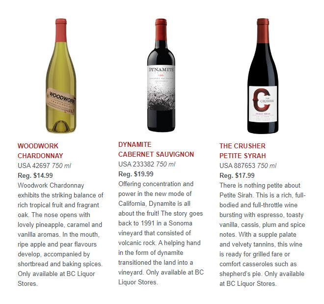 Woodwork Chardonnay, Dynamite Cabernet Sauvignon, and The Crusher Petite Syrah